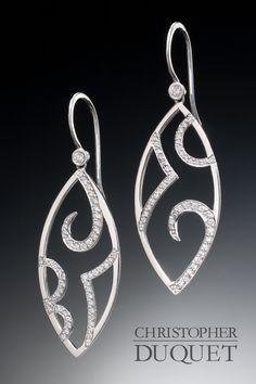 Created by Christopher Duquet Fine Jewelry Design / 14K white gold, Diamonds, Sapphire, Vintage Earrings / www.christopherduquet.com
