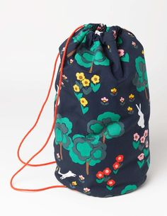 Mini Boden Drawstring Bag in Navy Bunny Meadow (NAV) - Lightweight and made from printed canvas, our bag is perfect for storing your gym kit or swimming gear. Its drawstring ties keep everything safe and it comes in the same print as our rucksacks - so you can take matching to a new level.