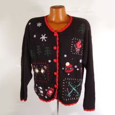 Ugly Christmas Sweater Vintage Cardigan by purevintageclothing Holiday Party Tacky