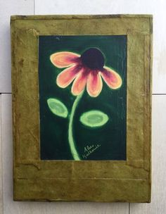 Emerald Daisy Art on 3/4 Wood Panel 6x8