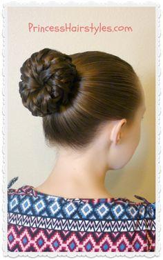 Pinwheel Bun Shortcut from Princess Hairstyles Romantic Hairstyles, Princess Hairstyles, Braided Hairstyles For Wedding, Quick Hairstyles, Popular Hairstyles, Girl Hairstyles, Messy Bun With Braid, Braided Buns, Big Bun