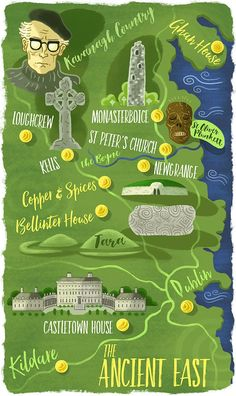 Graham Corcoran - Map of Ireland's Ancient East for AerLingus Cara magazine Map Illustrations, Illustration Art, Maps For Kids, Paper Cutting, Graham, Travel Inspiration, Irish, Ireland, Magazine