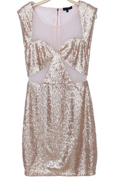 Beige Short Sleeve Sequined Bodycon Dress EUR€28.49
