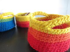crochet baskets  materials worsted weight yarn (i used stitch nation full o' sheep) 5.5 mm hook needle for weaving in ends  gauge not import...