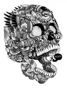 """Skull"" by english illustrator Iain Macarthur."