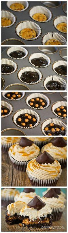 Peanut Butter Stuffed Brownie Cupcakes