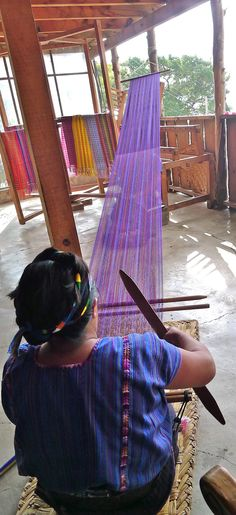 Woman weaving at Lake Atitlan, Guatemala