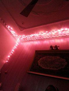 Diy lights in room. Fantastic idea for a pink room