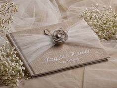 Wedding Guest Book, Guestbook, Tulle Shabby Chic Flower  Natural Linen Lace, embroidery names