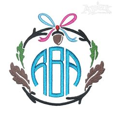 Acorn Wreath Monogram Embroidery Frame