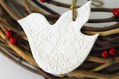 Pair of Ceramic White Dove Christmas Ornaments