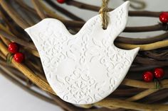 Pair of Ceramic White Dove Christmas Ornaments
