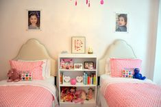 We love the sweet sophistication of this shared big girl room, featuring fab upholstered headboards!