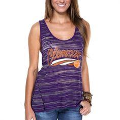Clemson Tigers Ladies Potent Burnout Stripe Tank Top - Purple