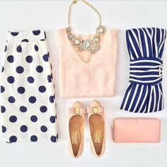 Polka dots, stripes, and peach pastels. Kate spade clutch