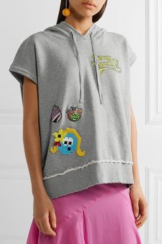 Mira Mikati - Never Grow Up Embellished Appliquéd Cotton-jersey Hooded Top - Gray - FR34