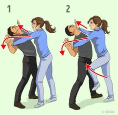 7 Mosse di Autodifesa Che ti Aiuteranno contro i MalintenzionatiHere are seven self defense techniques for women to protect themselves in the case of a male attacker by Victor Lyalko who is a martial arts techniques d'autodéfense données p Techniques D'autodéfense, Martial Arts Techniques, Self Defense Techniques, Krav Maga Techniques, Self Defense Moves, Self Defense Martial Arts, Self Defense Weapons, Self Defense For Women, Survival Life Hacks