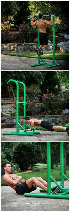 Power Tower. Complete push-ups, pull-ups, sit-ups, chin-ups, tricep dips, and vertical knee raises all in one.