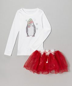 Take a look at this White Penguin Tee & Red Pom-Pom Pettiskirt - Toddler & Girls by So Girly & Twirly on #zulily today!