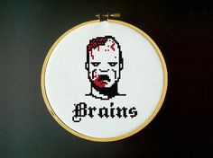 Zombie Brains Cross Stitch Pattern por LadyBeta en Etsy
