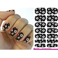 2016 Water Transfer Foil Nail Art Decorations Sticker White Flower Black Nails Sticker Manicure Decor Finger Nail Wraps Decal