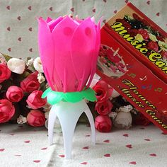 Rotating Magical Flower Musical Birthday Candle Party Decoration Gift Sparkler