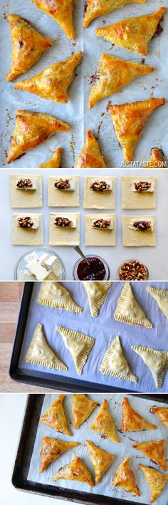 Baked Brie Bites with Jam Recipe // via Just A Taste Finger Food Appetizers, Yummy Appetizers, Appetizers For Party, Appetizer Recipes, Tapas, Jam Recipes, Cooking Recipes, Baked Brie Recipes, Fingers Food