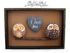 Funny Hand Painted I Love You 3-D Artwork with Two Irresistible Owls! My hand painted 3-D paintings are unique pieces of art! Ready to hang, they are made with painted pebbles, twigs and smooth marble hearts. I paint them using high quality acrylics and each element is stuck with a power glue. All designs are created with my imagination. They are protected with a mat varnish coat and are signed and accompanied by a Certificate of Authenticity. ** Please feel free to contact me for a…