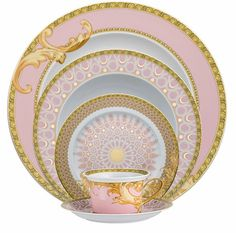 """"""" Shell-pink and gold arabesque china pattern by Versace for Rosenthal. My dream fine china Dinner Sets, Dinner Ware, Dinner Plates, China Patterns, China Dinnerware, Dinnerware Sets, Holiday Dinnerware, Porcelain Dinnerware, Vintage China"""