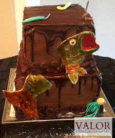 Chocolate Grooms Cake Fish Fishing Bass fondant buttercream
