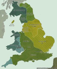 Map of England and Wales AD 900 By the dawn of the tenth century the period of invasion and conquest by the Vikings, mostly originating from Denmark or Viking Dublin, had ended. Uk History, European History, British History, History Facts, World History, Asian History, Strange History, Tudor History, History Channel