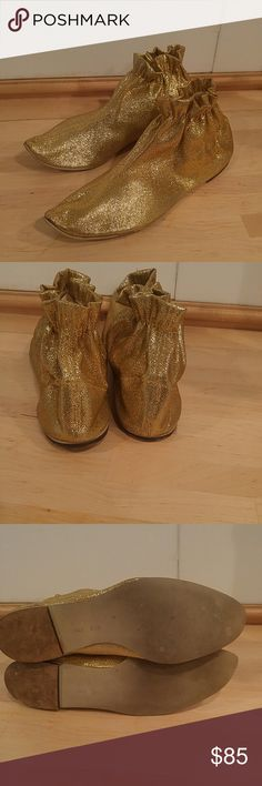 Vintage Gold Lame Mod Booties Size 8B Vintage 1960s Gold Lame Mod Booties These are Sooo Sweet ! Low Wood Heels Sparkling Stretchy Gold Lame Material. Elastic Ankles Make These Pixes Boots Fantastic ! Pull on Style. Fits 8B width  No Problems with These Cuties vintage Shoes Ankle Boots & Booties
