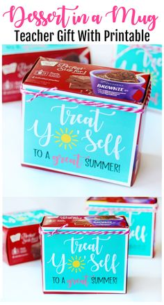 """Add this fun printable to a dessert in a mugkit for a fun end of the year gift idea! """"Treat Yo'Self To a Great Summer!"""" A quick 5 minute teacher gift idea. Summer Gift Baskets, Summer Gifts, Coach Gifts, Team Gifts, Teacher Treats, Teacher Gifts, Gifts For Coworkers, Gifts For Boys, Cheerleading Gifts"""