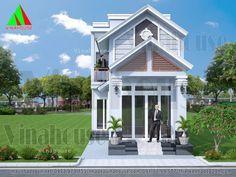 3D hình ảnh nhà cấp 4 có gác lửng sơn màu xanh Simple House Design, Classic House, Home Fashion, Lunges, Home And Garden, Mansions, House Styles, Villas, Decor