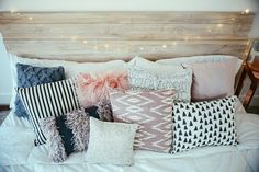 I just love the variety of cute pillows. Mixmatched but they all look good together and keep within the color scheme