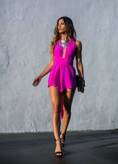 Sisters The Label Neon Fuchsia Flowy Plunge Party Playsuit