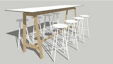 3D Model of High Bykato table with 8x white NamNam stools