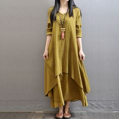 a61634638a Aliexpress.com   Buy 3 colors 2016 Summer New Women Clothes Loose long  Sleeve Plus Size Dress Cotton Linen Irregular Design Solid Dress Maxi  Dresses from ...