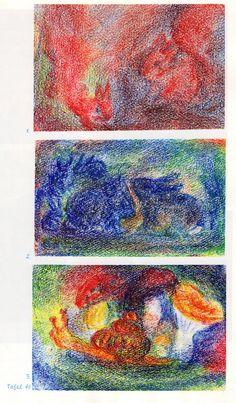 Tafel 46: Tierkunde 12 mit Bilderbucharbeit in Bienenwachsfarben (5.-7. Schuljahr) oben: 1. Eichhörnchen in Rotbraun auf grün-rot-braunem Boden mit rot-blau-braunem Hintergrund Mitte: 2. Kaninchenfamilie in Blau in grün-blau-schwarzem Ambiente unten: 3. Schnecke in Rot-Gelb trägt Schneckenhaus in Rot-Gelb-Schwarz auf grün-blau-gelbem Boden, Pilze in verschiedenen Farben und Formen dahinter, Hintergrund grün-gelb-blau-rot.