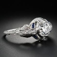 One-Carat Diamond Art Deco Engagement Ring - 10-1-4325 - Lang Antiques