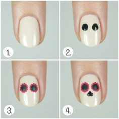 Wondrously Polished is back with another AMAZE nail art tutorial just in time for Halloween and Dia De Los Muertos! Share your take on this Sugar Skull Nail Tutorial in the comments below!              1. Paint your nails a light bone/beige shade and let dry completely.    2. With a large dotting tool, add two large black dots in the upper part of your nail for the centers of the eyes.    3. Use a pink polish to add tiny dots around the edge of each large black dot.    4. With a medium s...