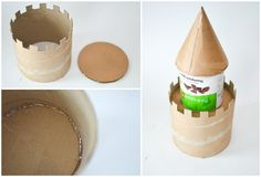 DIY Make a Cardboard Castle from Recyclables: Main tower.