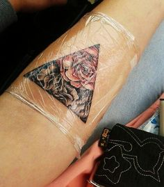 Triangle rose tattoo... I love this