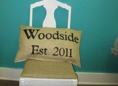 Burlap Established Pillow...with giant pom-poms-great front porch pillow!