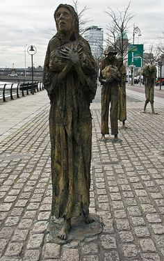 Famine on the Custom House Quay in Dublin - - Famine on the Custom House Quay in Dublin Image by infomatique Public art is successful if it makes people stop, look and think and on that basis this work by Rowan Gillespie is a huge success. Potato Famine, Tipperary Ireland, Dublin City, Don't Blink, Ireland Travel, Public Art, Custom Homes, Sculpture Art, Street Photography