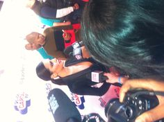 Speaking to Cheryl Cole on the red carpet at the Capital FM Jingle Bell Ball. Loads of journos were crowding around for her.