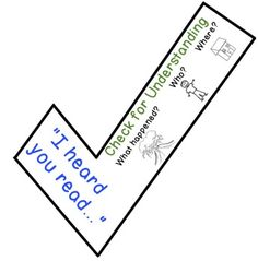 """This """"Check for Understanding"""" is a bookmark I created to go along with The Daily Five's """"Read to Someone."""" Students can use this helpful comprehension tool as a reminder to stop and think about what they are reading."""