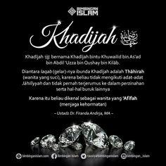 Khadijah Radhiyallahu anhuma.. Wanita yg telah dijamin Surga.. Muslim Quotes, Islamic Quotes, Words Quotes, Love Quotes, All About Islam, Learn Islam, Islam Muslim, Islamic Pictures, Quran