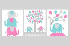 Elephant Nursery Art, Elephant Decor, Turquoise Pink Grey, Baby Girl Wall Art, Baby Shower Gift, Baby Girl Nursery, Canvas Available by SweetPeaNurseryArt on Etsy