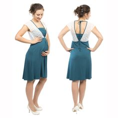 44e7c65731 White lace top maternity and nursing dress JULIETTE in petrol .We ship  worldwide! Payment